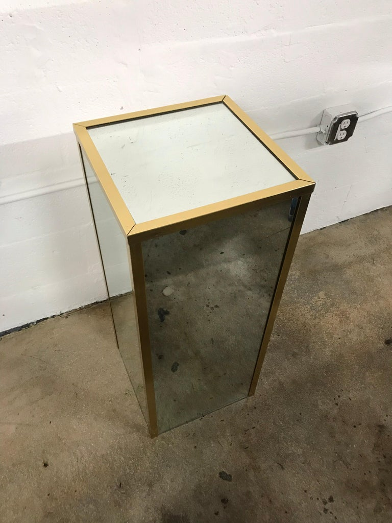 20th Century Brass and Mirror Pedestal
