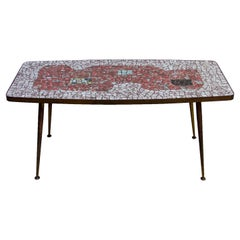 Brass and Mosaic Coffee Table by Berthold Muller Oerlinghausen