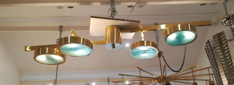Brass and Murano glass ceiling light, 8 bulbs G9.