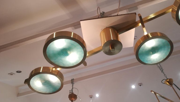 Contemporary Brass and Murano Glass Ceiling Light For Sale