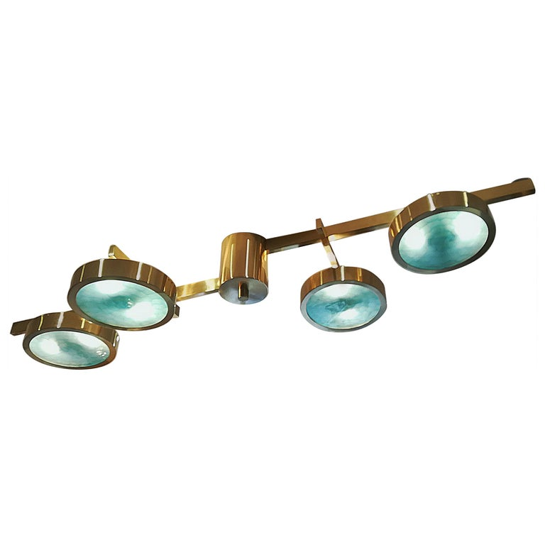 Brass and Murano Glass Ceiling Light For Sale