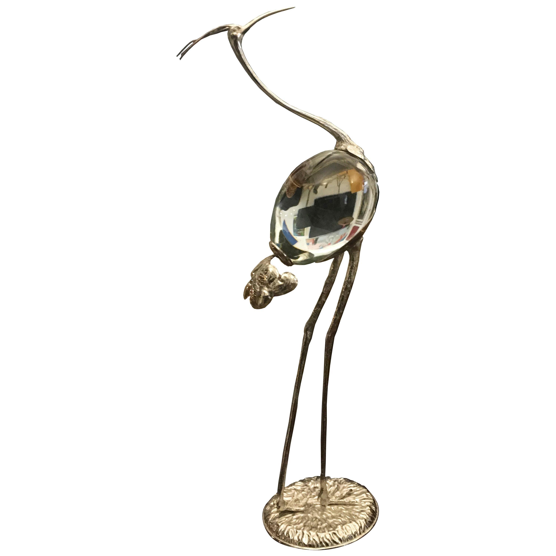 Brass and Seguso Murano Glass Flamingo Sculpture,after Gabriella Crespi 1970s