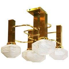 Midcentury Chandelier.Brass and Murano Glass Sciolari Style ,Italy 1970s
