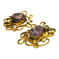 Brass and Naturestone vintage Clip Earrings by Anna Greta Eker, Norway, 1960s