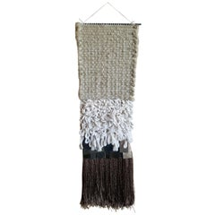Brass and Neutral Fiber Art Weaving by All Roads