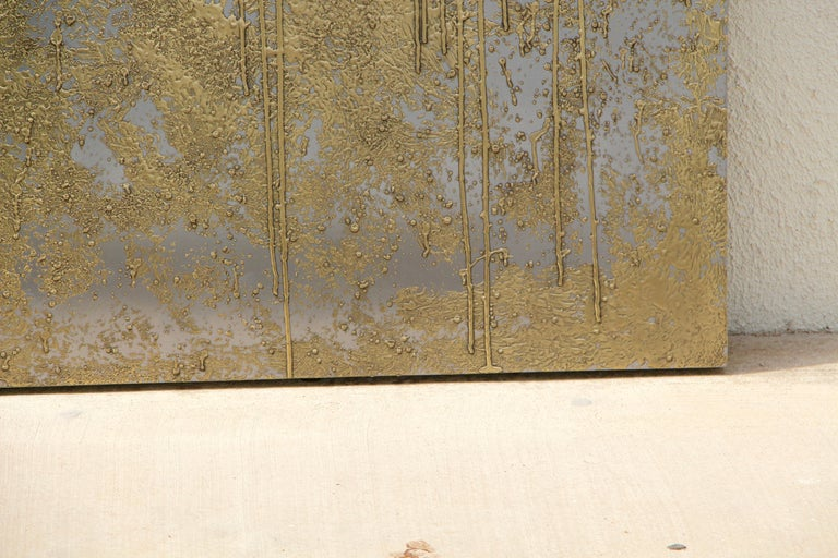 Brass and Nickel Abstract by Local Palm Springs Artist In Good Condition For Sale In Palm Springs, CA