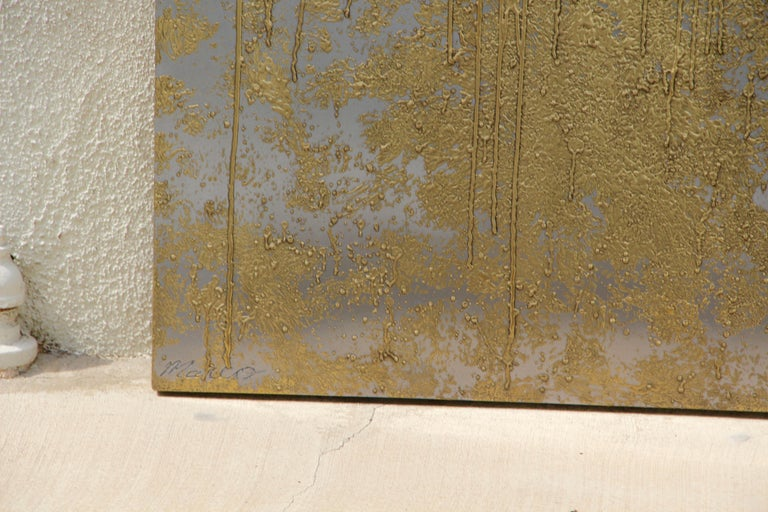 Contemporary Brass and Nickel Abstract by Local Palm Springs Artist For Sale