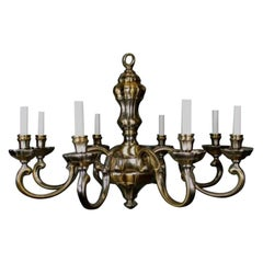 Italian Mid Century Brass and Nickel Chandelier