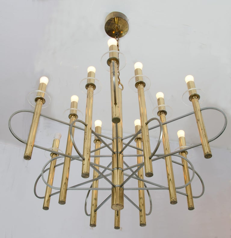 Late 20th Century Brass and Nickel Sputnik Chandelier by Sciolari Italy 1960's For Sale