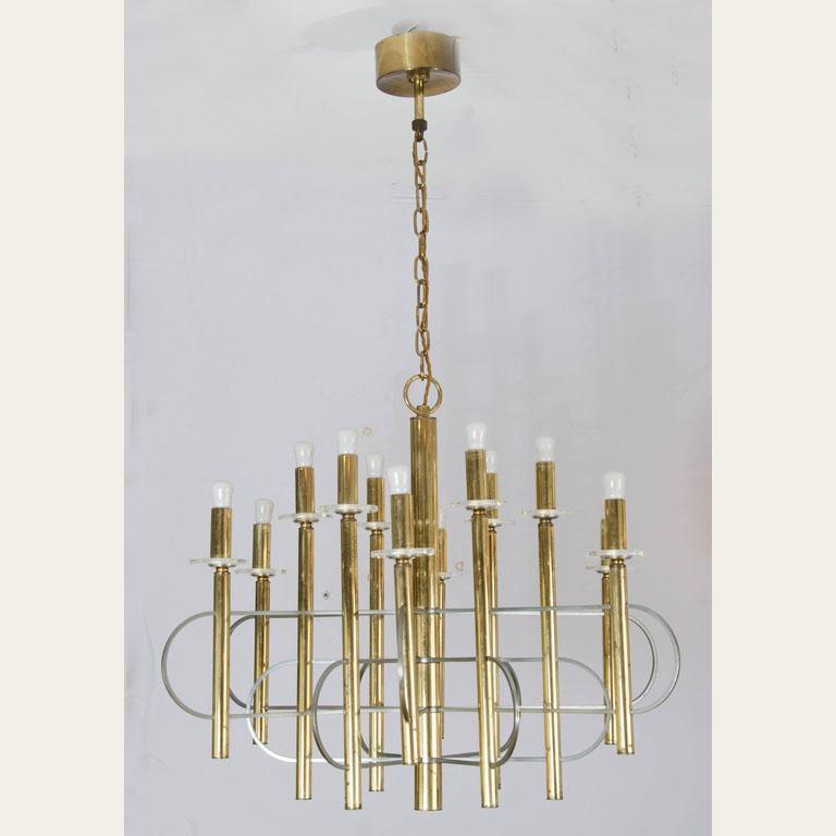 Brass and Nickel Sputnik Chandelier by Sciolari Italy 1960's For Sale 2