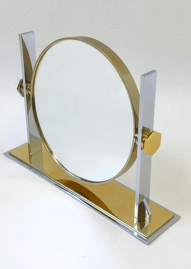Modern Brass and Nickel Vanity Mirror by Karl Springer  For Sale