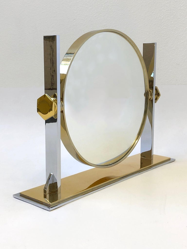 American Brass and Nickel Vanity Mirror by Karl Springer  For Sale