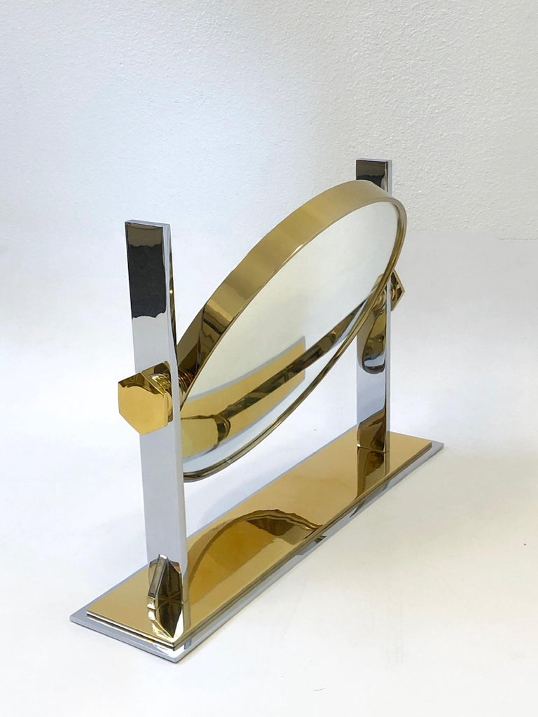 Late 20th Century Brass and Nickel Vanity Mirror by Karl Springer  For Sale