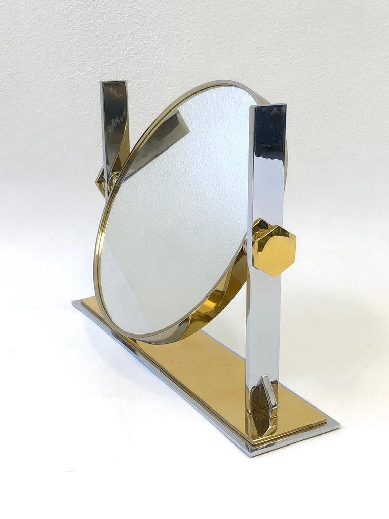 Brass and Nickel Vanity Mirror by Karl Springer  For Sale 1