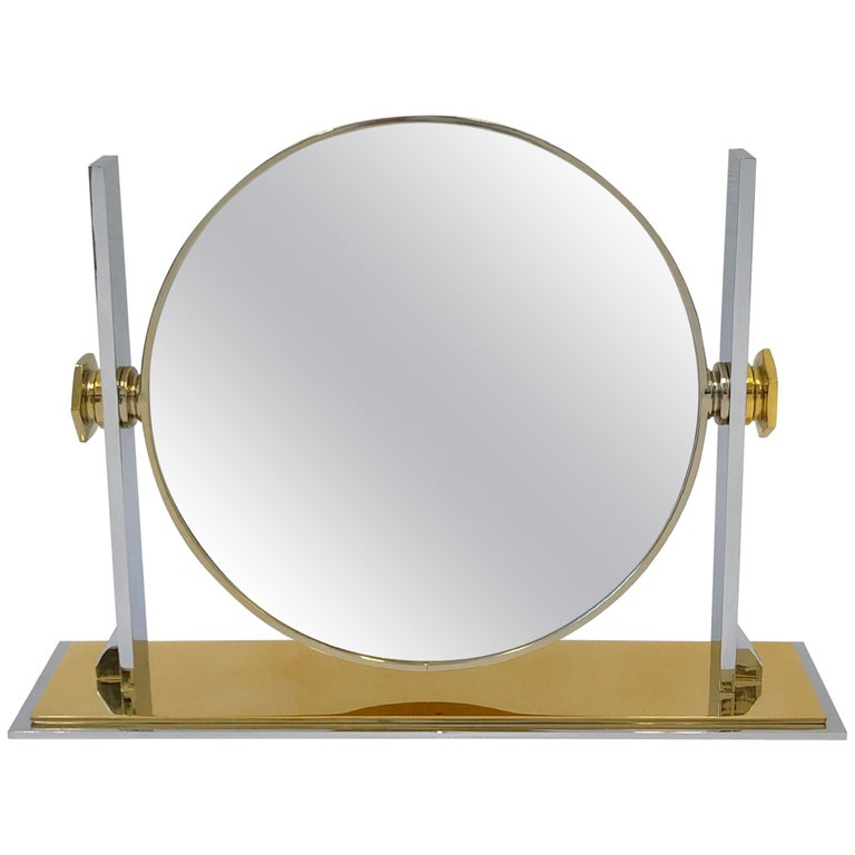 Brass and Nickel Vanity Mirror by Karl Springer  For Sale