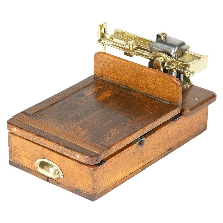 Brass and Oak Weighting Scales by Avery of Birmingham For Sale