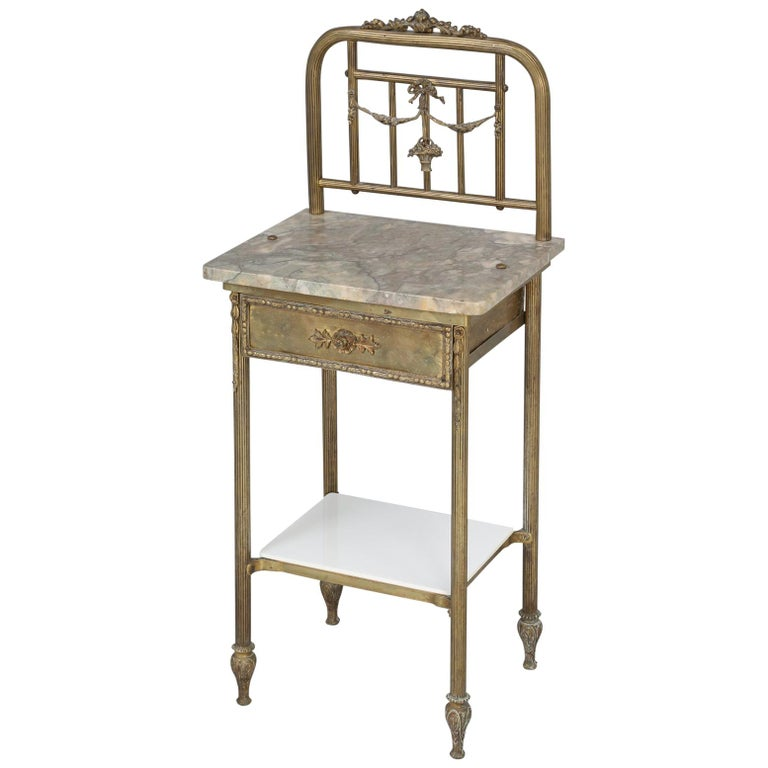 Brass and Onyx Nightstand For Sale