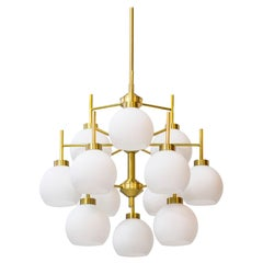 Brass and Opaline Chandeliers by Holger Johansson for Westal, Sweden, 1960s