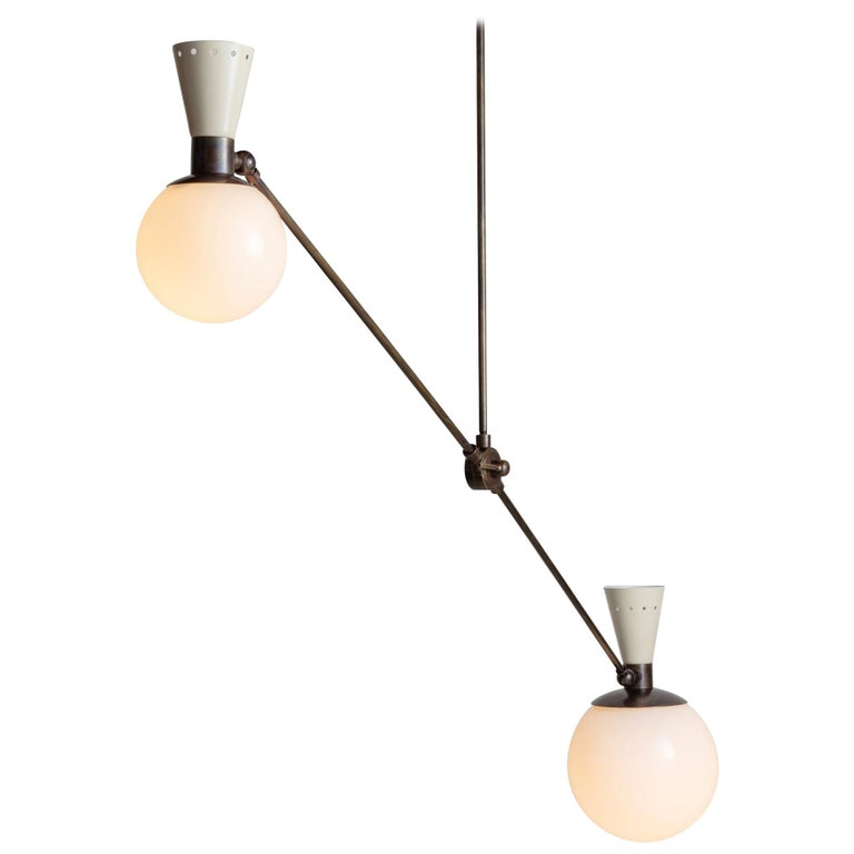 Brass and Opaline Counterbalance Lamp For Sale