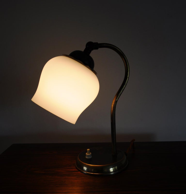 Brass and Opaline Glass Art Deco Table Lamp, Scandinavia, 1930s For Sale 6