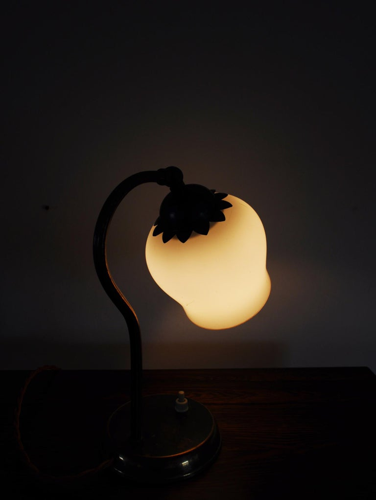 Brass and Opaline Glass Art Deco Table Lamp, Scandinavia, 1930s For Sale 7