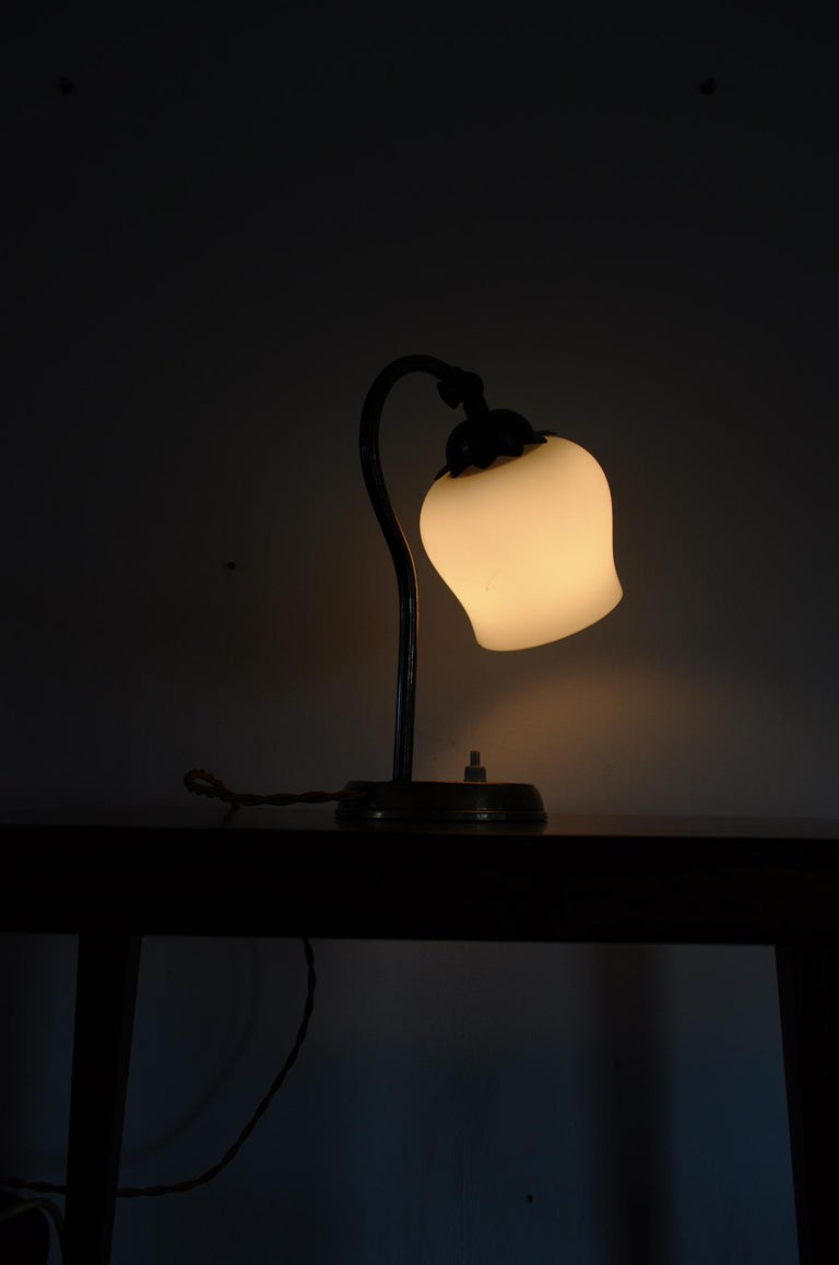 Brass and Opaline Glass Art Deco Table Lamp, Scandinavia, 1930s For Sale 8