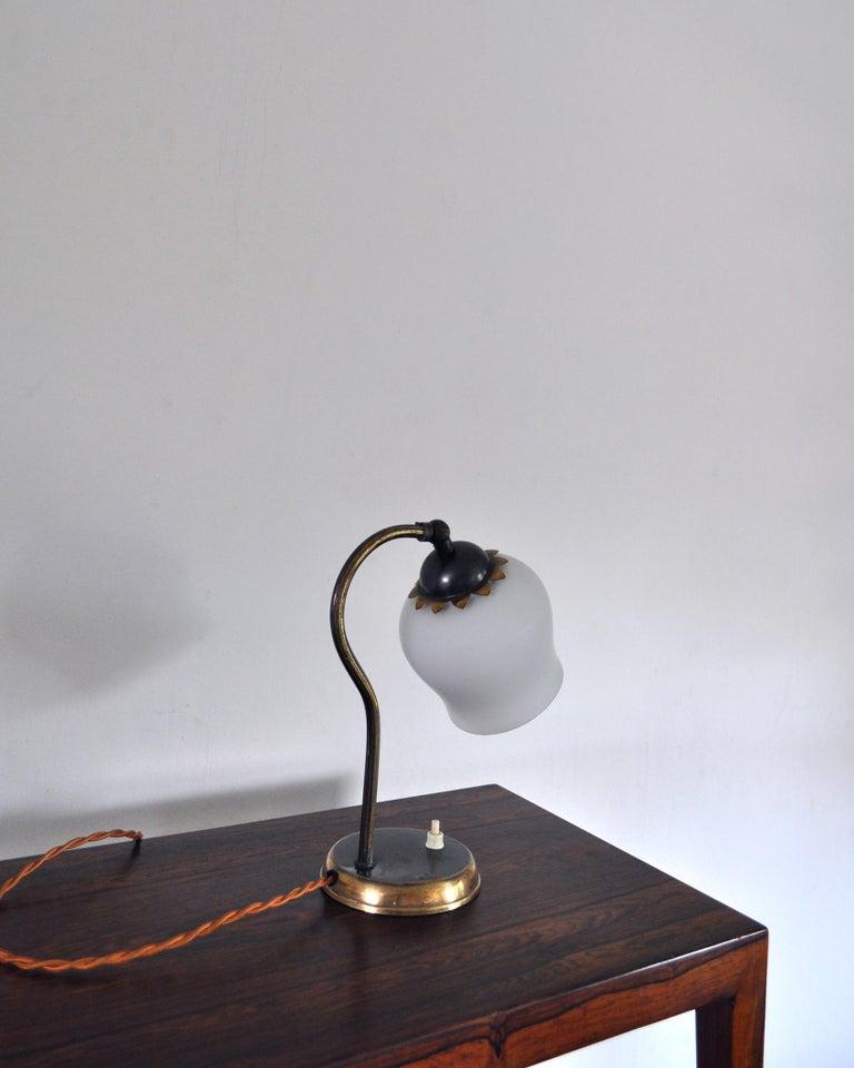 Scandinavian Brass and Opaline Glass Art Deco Table Lamp, Scandinavia, 1930s For Sale