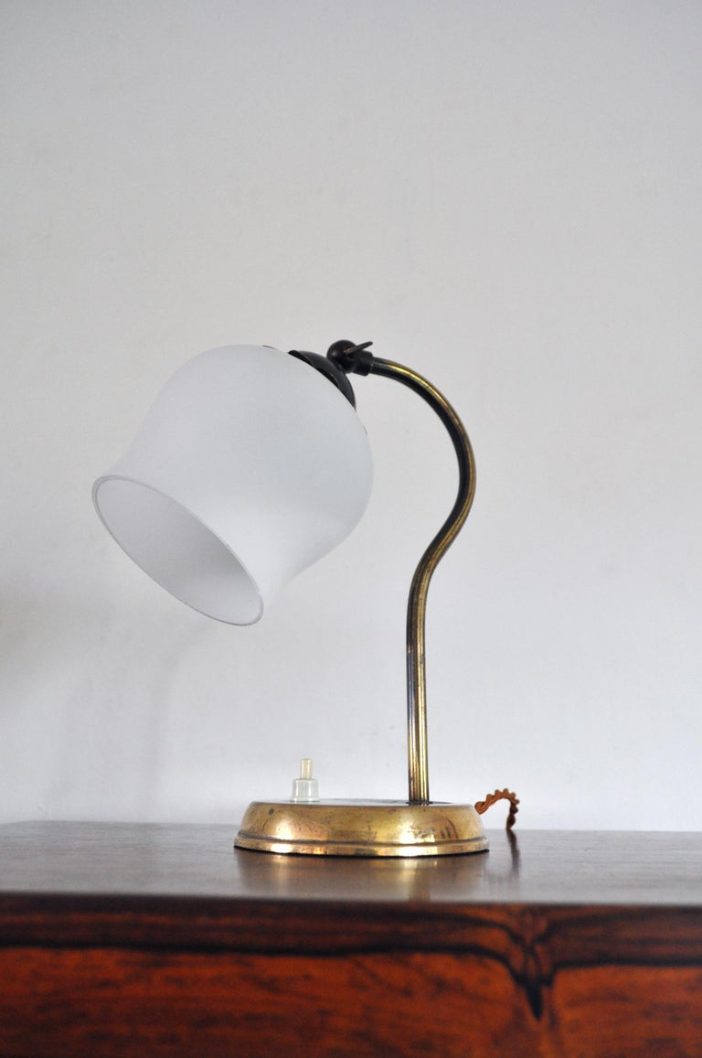 Brass and Opaline Glass Art Deco Table Lamp, Scandinavia, 1930s For Sale 3