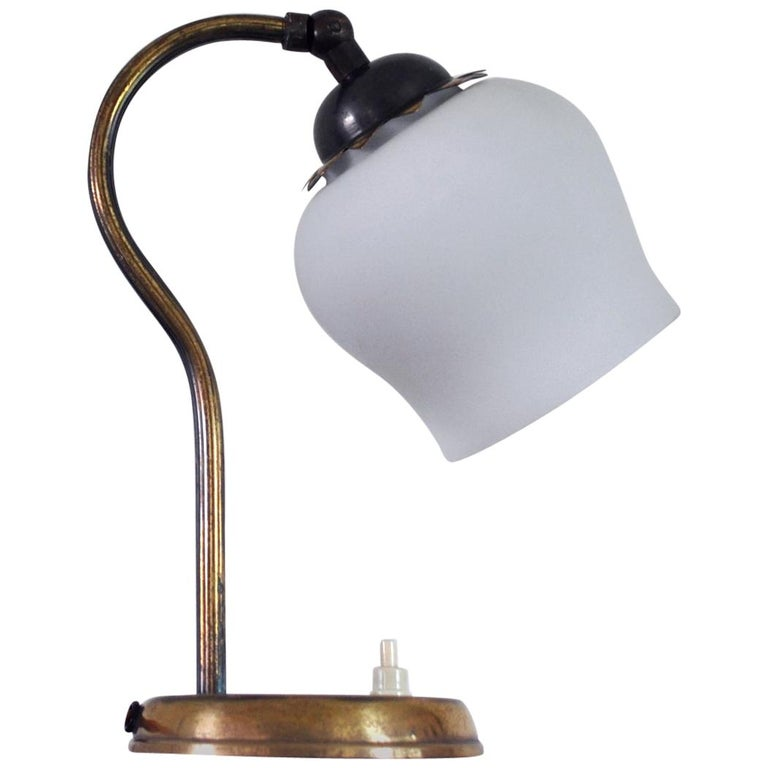 Brass and Opaline Glass Art Deco Table Lamp, Scandinavia, 1930s For Sale