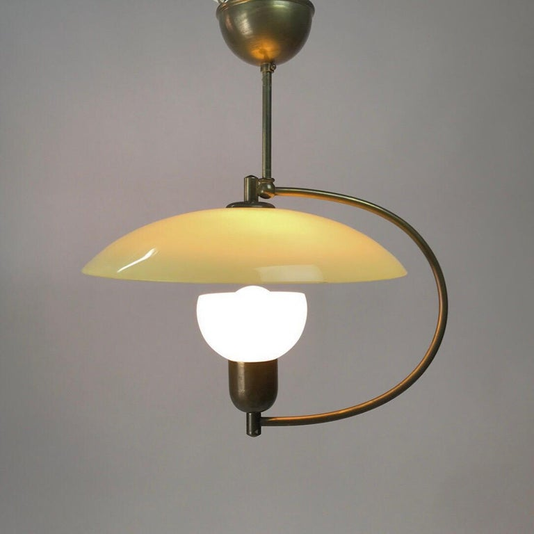 Classic 1950s Stilnovo era opaline glass pendant with original canopy. 