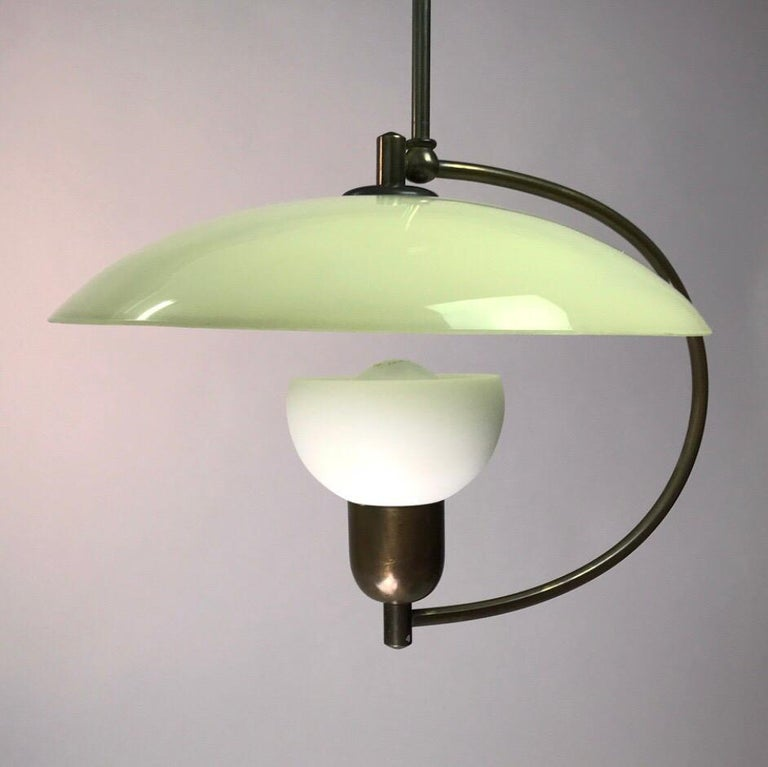 Mid-20th Century Brass and Opaline Glass Ceiling Light, Denmark, 1950s For Sale