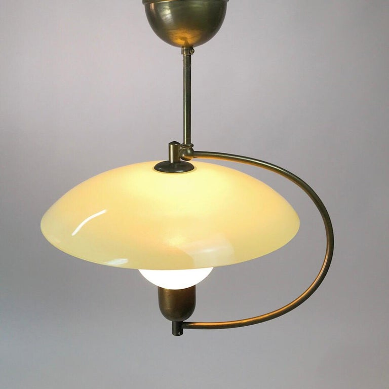Brass and Opaline Glass Ceiling Light, Denmark, 1950s For Sale 2