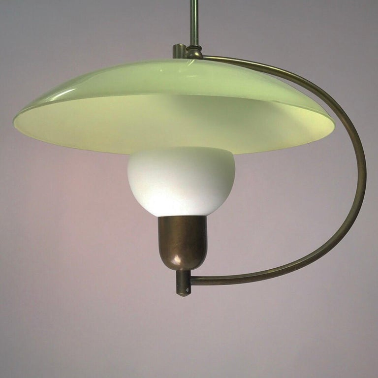 Brass and Opaline Glass Ceiling Light, Denmark, 1950s For Sale 3