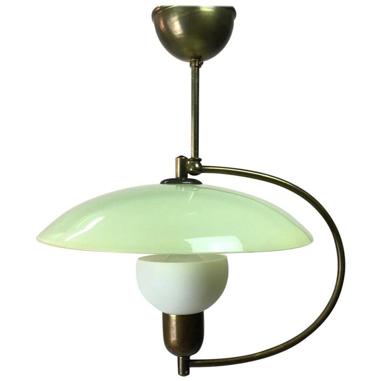 Brass and Opaline Glass Ceiling Light, Denmark, 1950s For Sale