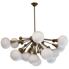 Brass and Opaline Glass Midcentury Italian Ceiling Lamp, 1970