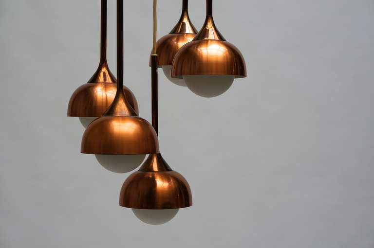 Brass and Opaline Glass Pendant Light For Sale 4