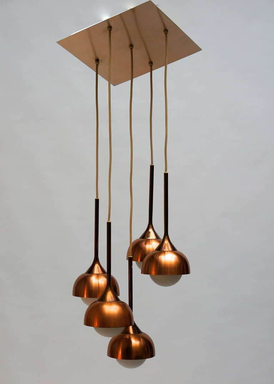 Brass and opaline five-tier pendant chandelier, 1960.