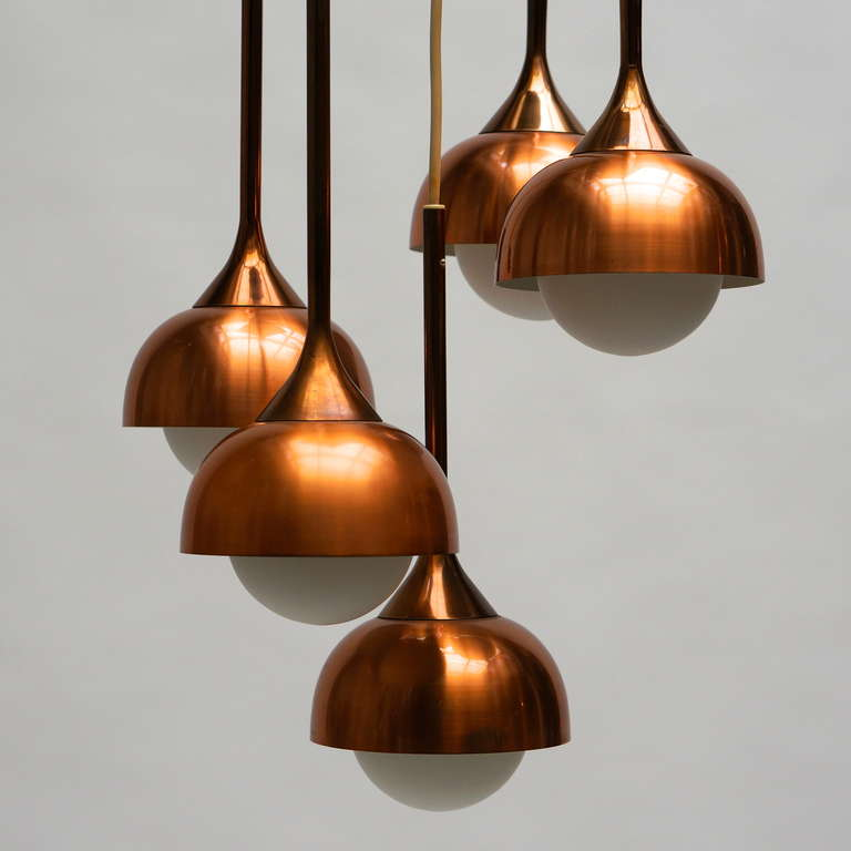 Mid-Century Modern Brass and Opaline Glass Pendant Light For Sale