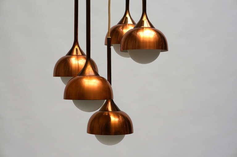 Danish Brass and Opaline Glass Pendant Light For Sale