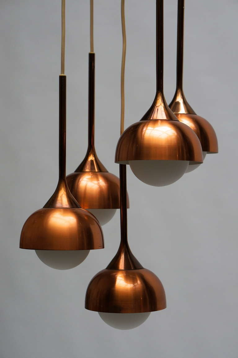 Brass and Opaline Glass Pendant Light In Good Condition For Sale In Antwerp, BE