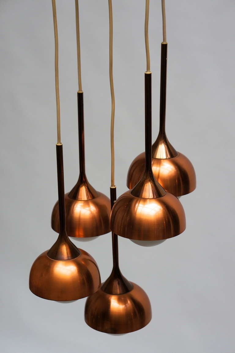 20th Century Brass and Opaline Glass Pendant Light For Sale
