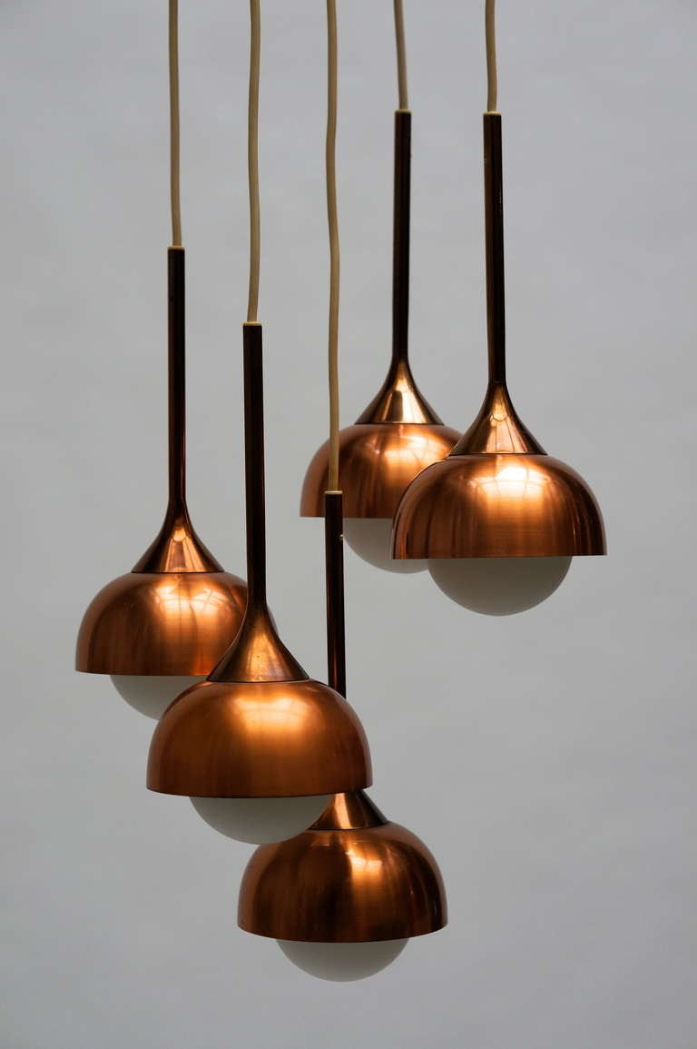 Brass and Opaline Glass Pendant Light For Sale 1