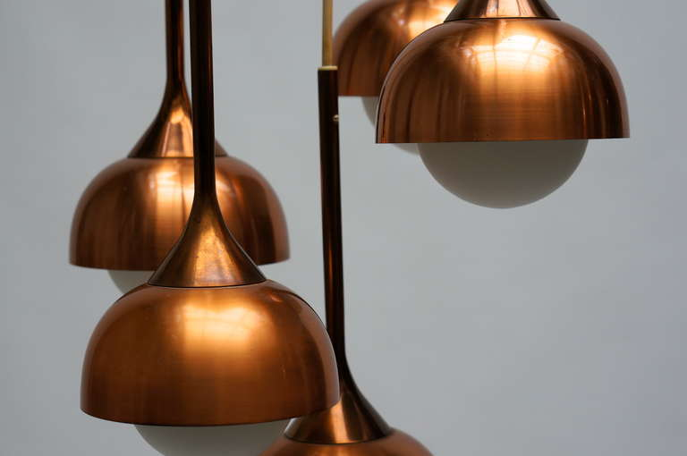 Brass and Opaline Glass Pendant Light For Sale 3