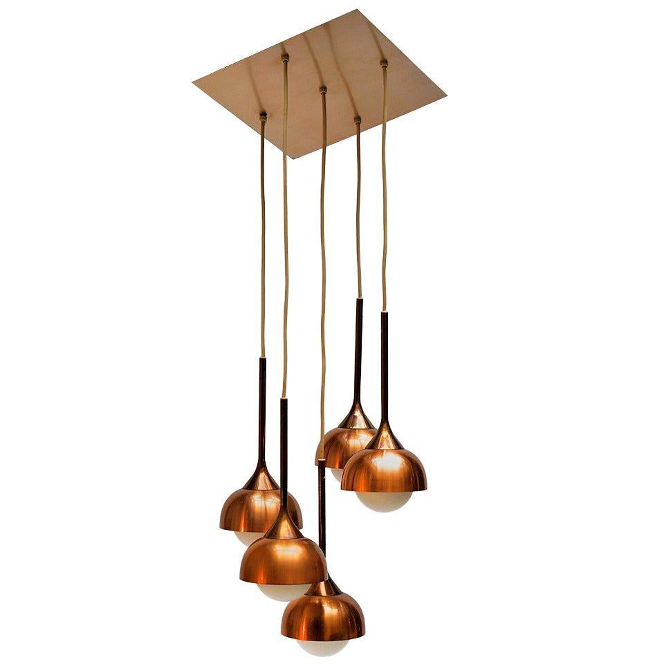 Brass and Opaline Glass Pendant Light