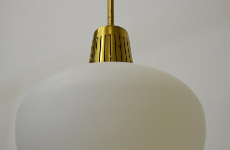 Swedish Brass and Opaline pendant by Hans Bergström For Sale