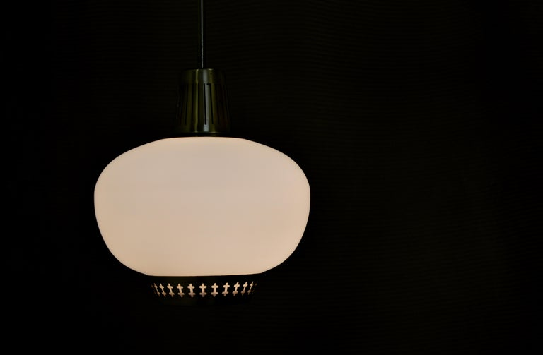 Brass and Opaline pendant by Hans Bergström For Sale 1