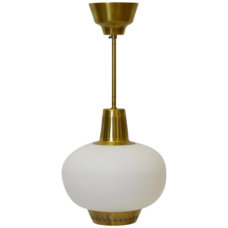 Brass and Opaline pendant by Hans Bergström For Sale
