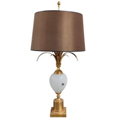 Brass and Opaline Pineapple Leaf Table Lamp, 1960s