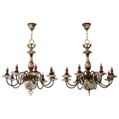 Three Brass and Porcelain Chandelier with Flowers Double Headed Eagle Sculptures