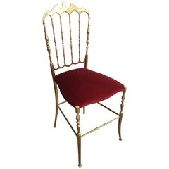 Brass and Red Velvet Chiavari Chair, circa 1940